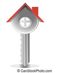 tényleges, épület, kulcs, birtok
