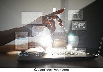 tényleges, érint, screen., terv, management., adatok, analysis., hitech, technológia, megoldások, helyett, business.