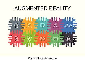 tényleges, augmented, infographic, játék, icons., arcápolás,...