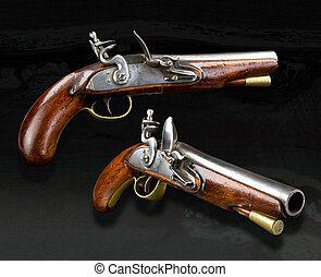 tényleges, flinta, pistol., angol
