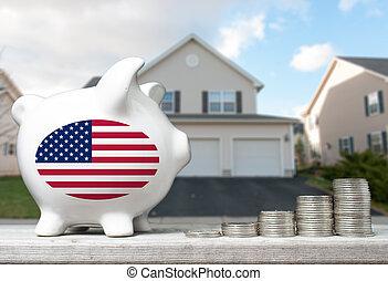 tényleges, fogalom, birtok, part, épület, érmek, befektetés, amerikai, falánk, háttér, kazalba rak
