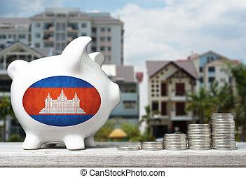 tényleges, fogalom, birtok, part, épület, érmek, befektetés, cambodian, háttér, kazalba rak, falánk