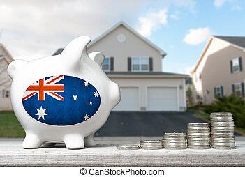 tényleges, fogalom, birtok, part, épület, érmek, befektetés, falánk, háttér, ausztrál, kazalba rak