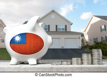 tényleges, fogalom, birtok, part, épület, érmek, tajvani ember, befektetés, falánk, háttér, kazalba rak