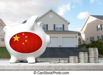 tényleges, fogalom, kínai, birtok, part, épület, érmek, befektetés, falánk, háttér, kazalba rak