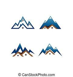 tényleges, hegy, birtok, épület, sablon, jel
