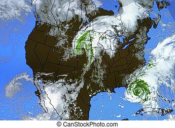 tényleges, időjárás térkép