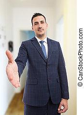 tényleges, kézfogás, fogalom, üzlet, birtok, menedzser, gyártás, gesztus