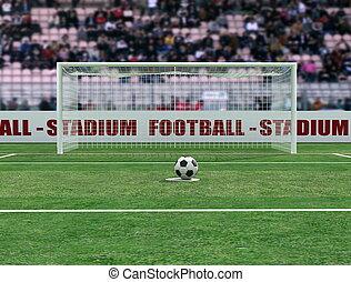 tényleges, kilátás, közül, egy, futball, stadion, előbb, büntetés, -, digitális, artwork