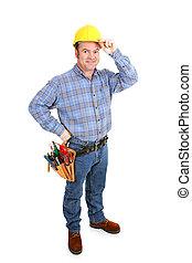 tényleges, munkás, -, szerkesztés, meglegyintés, kalap