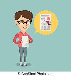 tényleges, nő, birtok, advertisement., felolvasás, kaukázusi