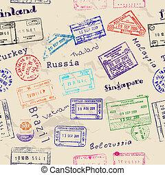tényleges, vízum, seamless, struktúra, stamps.