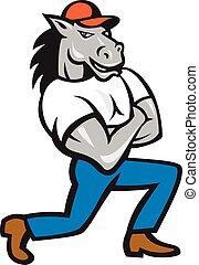 térdelés, ló, kereszteződnek fegyver, karikatúra