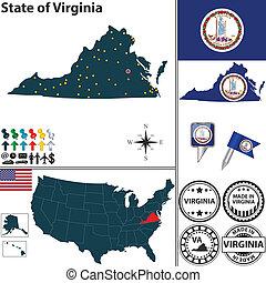 térkép, állam, virginia, usa