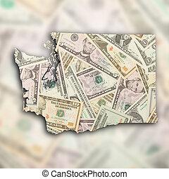 térkép, állam, washington