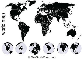térkép, állhatatos, fekete, földdel feltölt, földgolyó, világ
