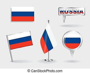 térkép, állhatatos, gombostű, vektor, orosz, flags., mutató, ikon
