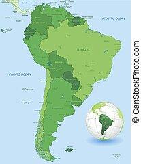 térkép, állhatatos, vektor, zöld, amerika, déli