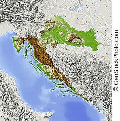 térkép, árnyékolt, horvátország, megkönnyebbülés