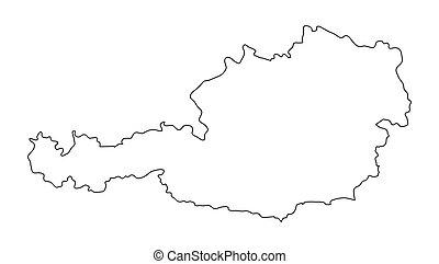 térkép, áttekintés, elszigetelt, ausztria, tervezés, háttér, fehér, körvonal