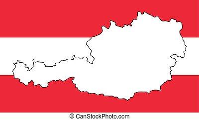 térkép, áttekintés, szín, austria lobogó, tervezés, háttér, white piros