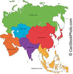 térkép, ázsia