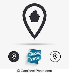 térkép, élelmiszer, jelkép., aláír, könyvjelző, icon., mutató