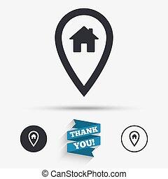 térkép, épület, jelkép., aláír, könyvjelző, icon., mutató