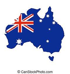 térkép, és, lobogó, közül, ausztrália