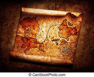 térkép, öreg, kincs, grunge, háttér