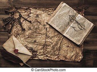 térkép, öreg, szüret, boríték, kulcsok, könyv, csokor