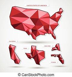 térkép, ügy, elszigetelt, fehér, geográfiai, piros