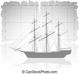 térkép, ősi, öreg, felett, hajó, grid.