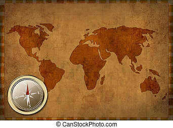 térkép, ősi, grunge, -, háttér, világ