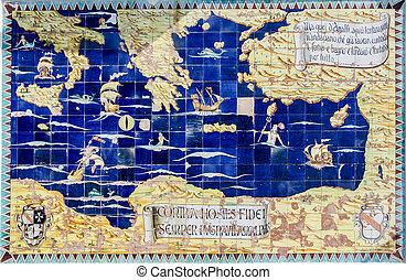 térkép, ősi, tengertől távol eső