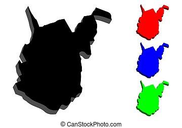 térkép, 3, virginia, nyugat