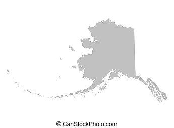 térkép, alaska szürke
