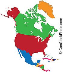 térkép, amerika, észak, színes
