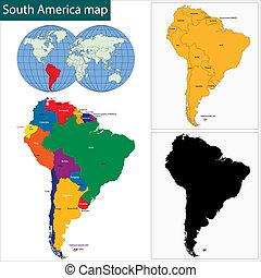 térkép, amerika, déli