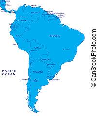 térkép, amerika, politikai, déli