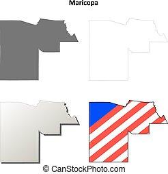 térkép, arizona, áttekintés, maricopa county, állhatatos