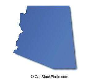 térkép, arizona, -, usa