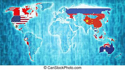 térkép, asia-pacific, gazdasági, együttműködés, világ, terület