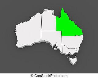 térkép, australia., queensland.