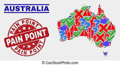 térkép, ausztrália, fáj, lehangol, mutat, kollázs, jelkép, bélyeg, mózesi