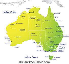 térkép, ausztrália, politikai