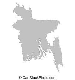 térkép, banglades, szürke