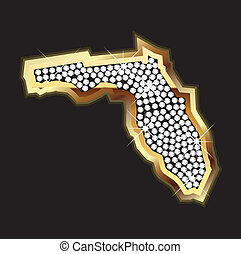 térkép, bling, florida
