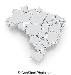 térkép, brazil., háromkiterjedésű