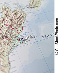 térkép, christchurch
